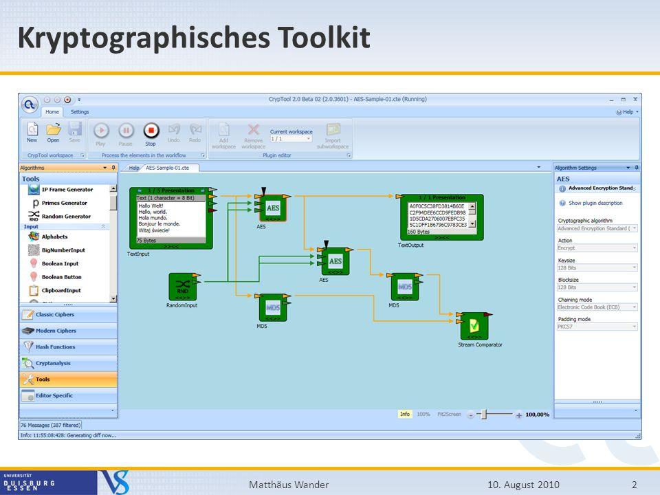 Kryptographisches Toolkit 210. August 2010Matthäus Wander