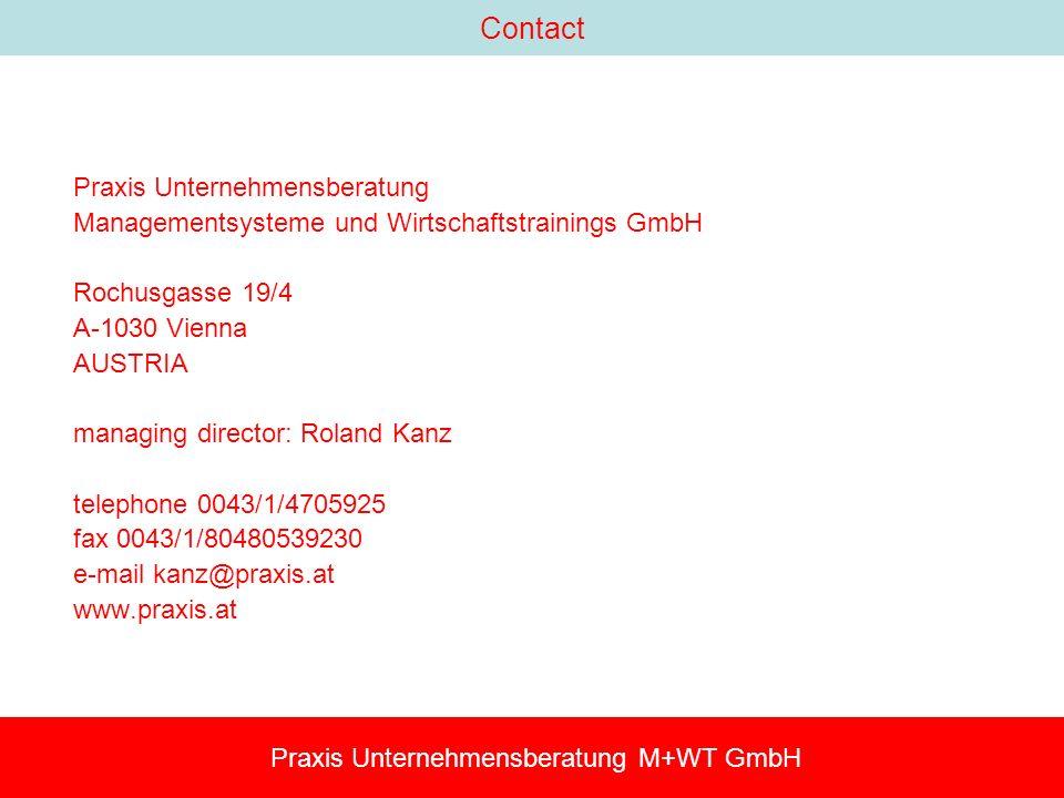 Contact Praxis Unternehmensberatung Managementsysteme und Wirtschaftstrainings GmbH Rochusgasse 19/4 A-1030 Vienna AUSTRIA managing director: Roland Kanz telephone 0043/1/4705925 fax 0043/1/80480539230 e-mail kanz@praxis.at www.praxis.at Praxis Unternehmensberatung M+WT GmbH