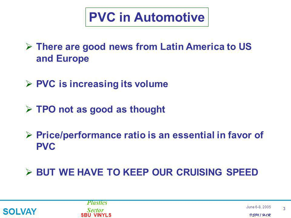 DSPl / HLR Plastics Sector SOLVAY SBU VINYLS 3 June 6-8, 2005 There are good news from Latin America to US and Europe PVC is increasing its volume TPO not as good as thought Price/performance ratio is an essential in favor of PVC BUT WE HAVE TO KEEP OUR CRUISING SPEED PVC in Automotive