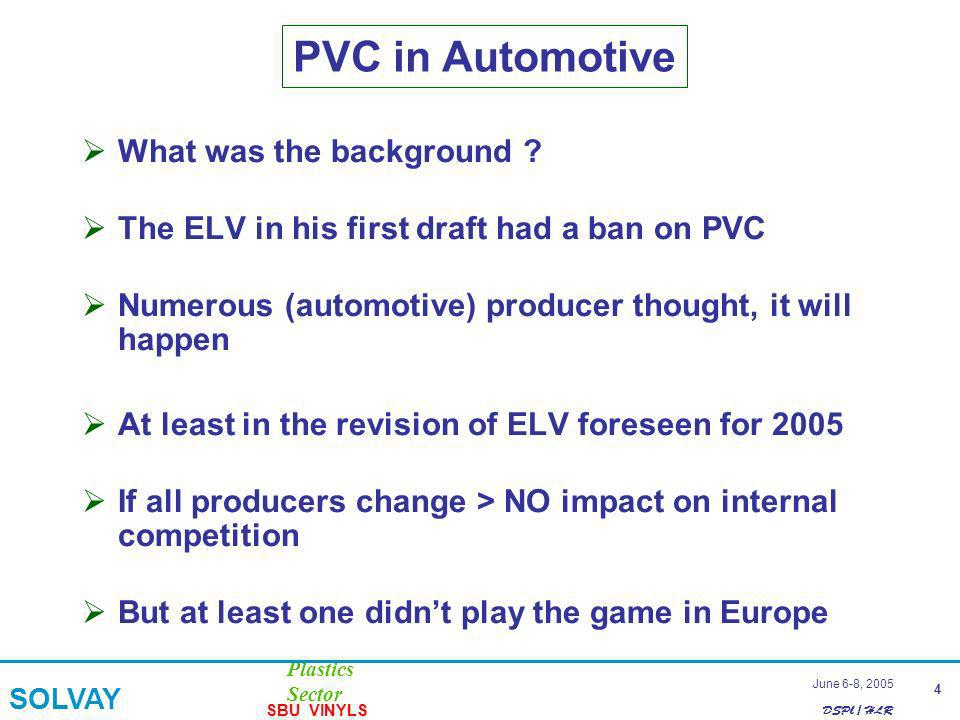 DSPl / HLR Plastics Sector SOLVAY SBU VINYLS 4 June 6-8, 2005 PVC in Automotive What was the background .