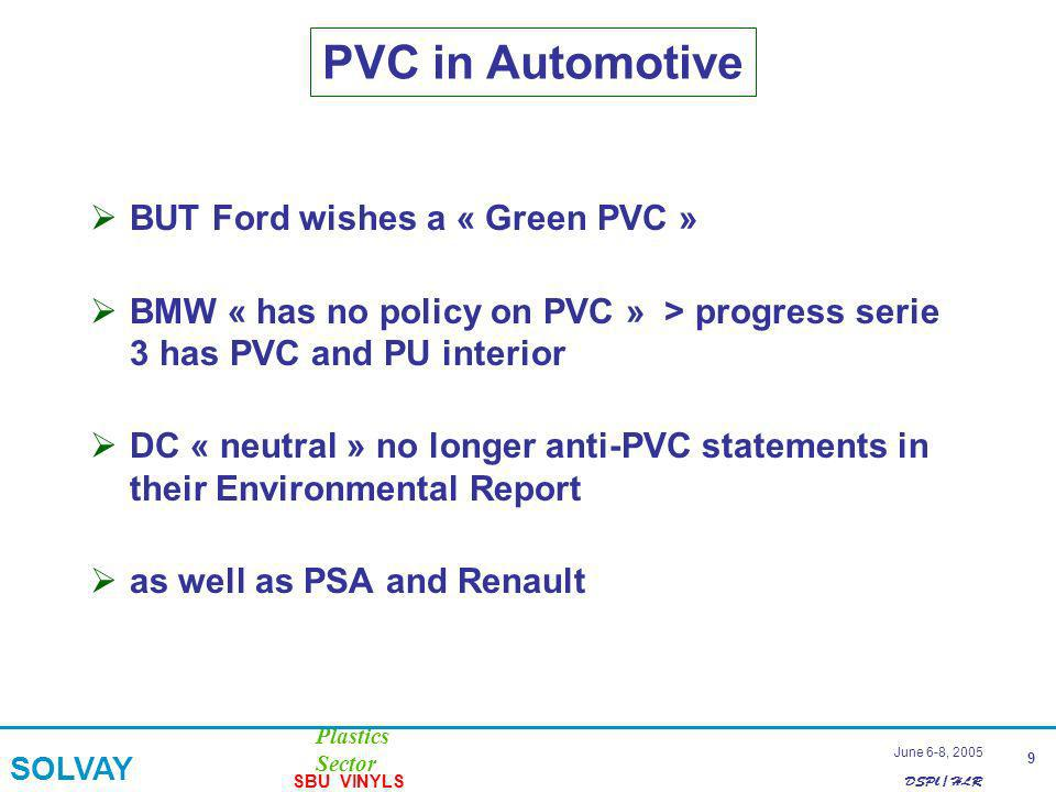 DSPl / HLR Plastics Sector SOLVAY SBU VINYLS 9 June 6-8, 2005 PVC in Automotive BUT Ford wishes a « Green PVC » BMW « has no policy on PVC » > progress serie 3 has PVC and PU interior DC « neutral » no longer anti-PVC statements in their Environmental Report as well as PSA and Renault