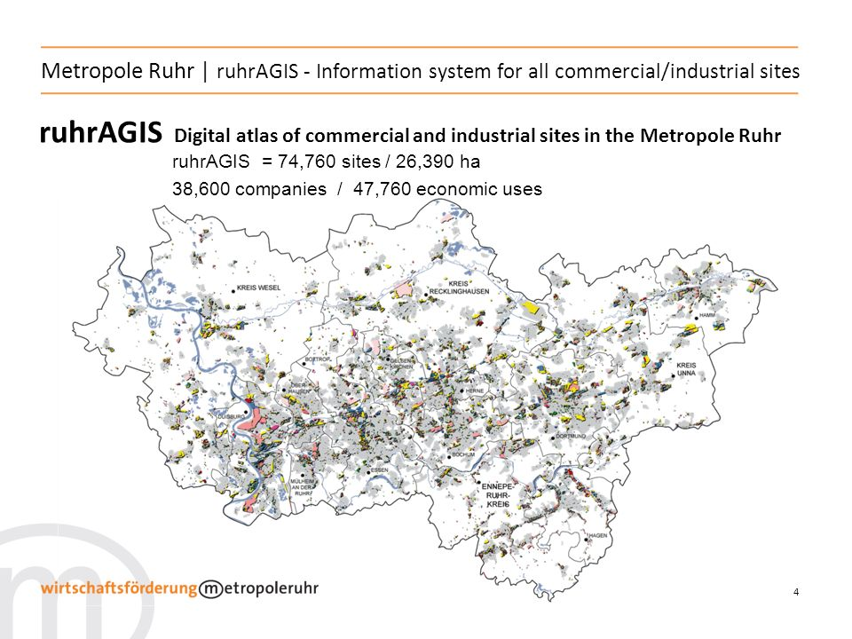 4 Metropole Ruhr | ruhrAGIS - Information system for all commercial/industrial sites ruhrAGIS Digital atlas of commercial and industrial sites in the