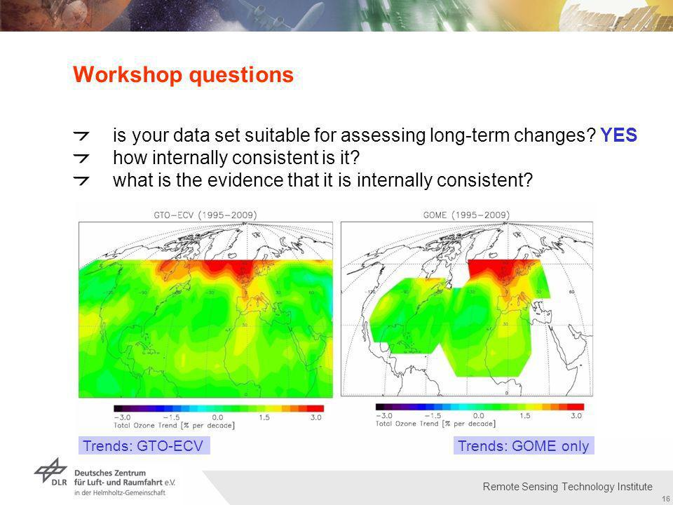 Institut für Methodik der Fernerkundung bzw. Deutsches Fernerkundungsdatenzentrum Folie 16 16 Remote Sensing Technology Institute Workshop questions i