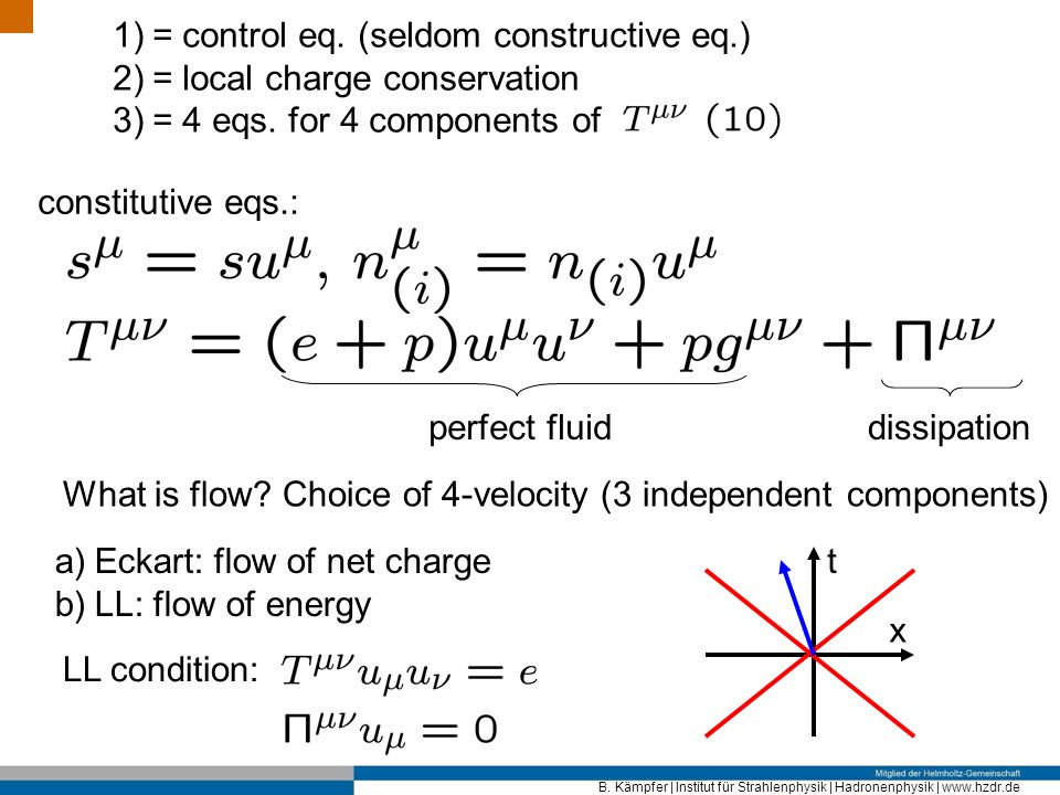 B. Kämpfer | Institut für Strahlenphysik | Hadronenphysik | www.hzdr.de 1)= control eq. (seldom constructive eq.) 2)= local charge conservation 3)= 4