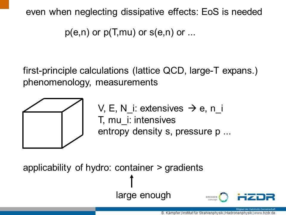 B. Kämpfer | Institut für Strahlenphysik | Hadronenphysik | www.hzdr.de even when neglecting dissipative effects: EoS is needed p(e,n) or p(T,mu) or s
