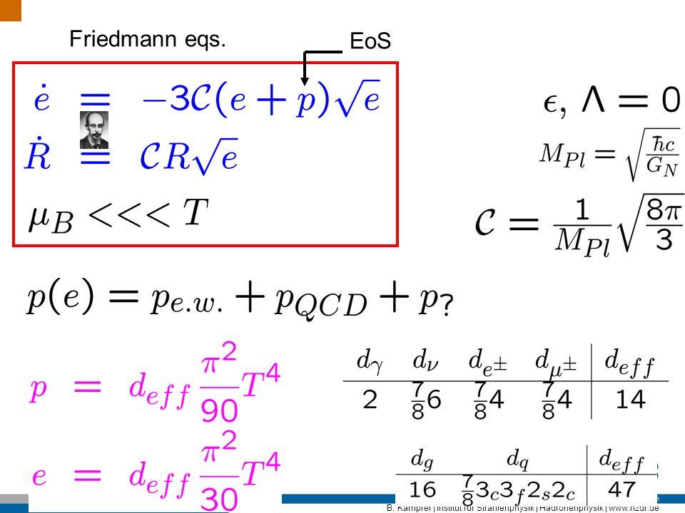 B. Kämpfer | Institut für Strahlenphysik | Hadronenphysik | www.hzdr.de Friedmann eqs. EoS