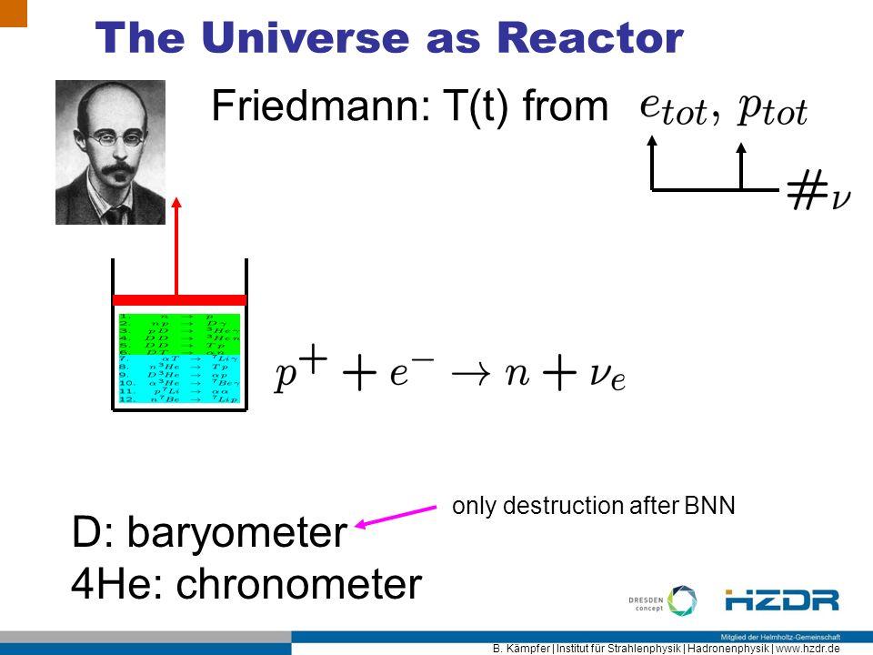 B. Kämpfer | Institut für Strahlenphysik | Hadronenphysik | www.hzdr.de The Universe as Reactor Friedmann: T(t) from D: baryometer 4He: chronometer on