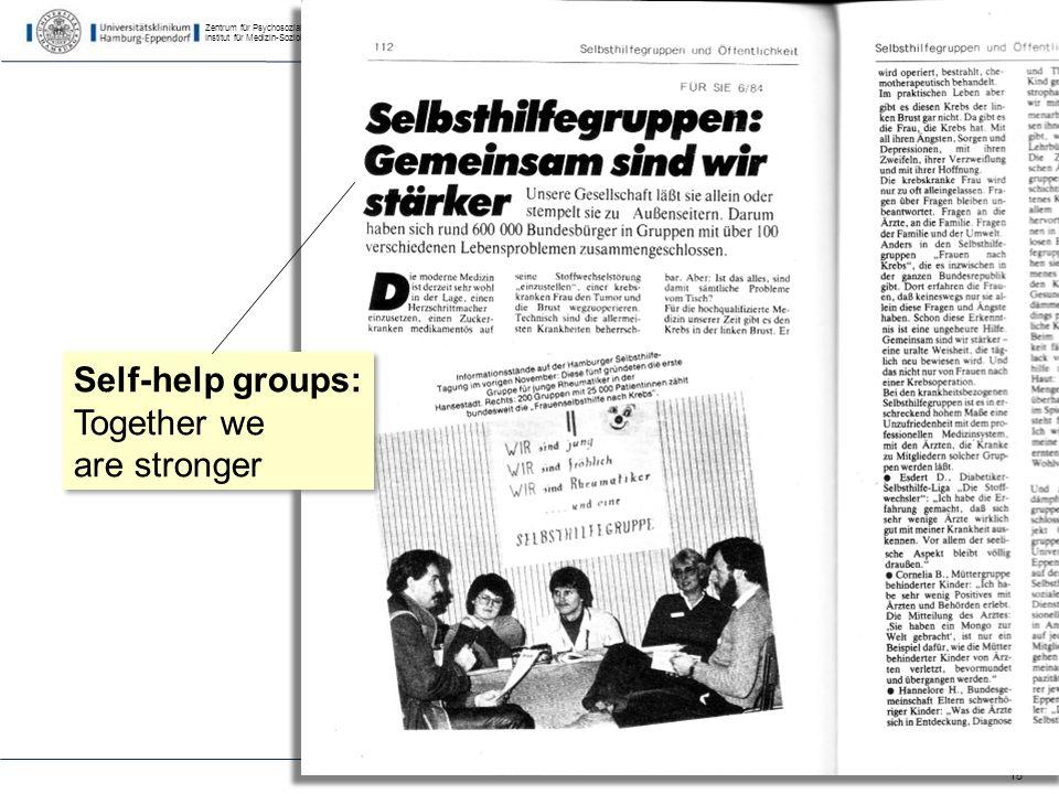 Zentrum für Psychosoziale Medizin Institut für Medizin-Soziologie 15 Self-help groups: Together we are stronger Self-help groups: Together we are stronger