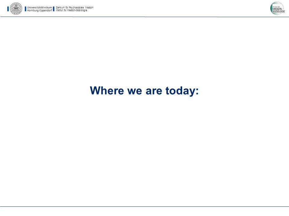 Zentrum für Psychosoziale Medizin Institut für Medizin-Soziologie Where we are today: