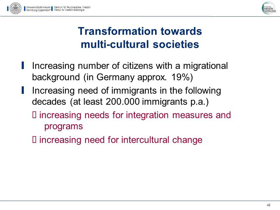 Zentrum für Psychosoziale Medizin Institut für Medizin-Soziologie 45 Transformation towards multi-cultural societies Increasing number of citizens with a migrational background (in Germany approx.