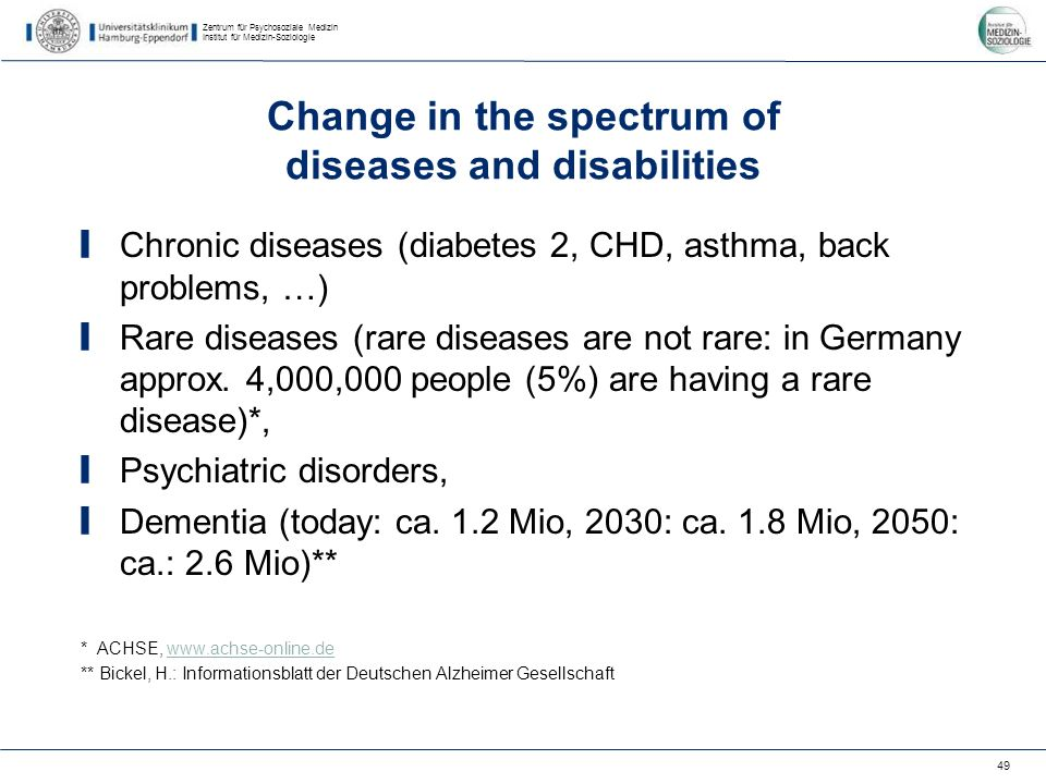 Zentrum für Psychosoziale Medizin Institut für Medizin-Soziologie 49 Change in the spectrum of diseases and disabilities Chronic diseases (diabetes 2, CHD, asthma, back problems, …) Rare diseases (rare diseases are not rare: in Germany approx.