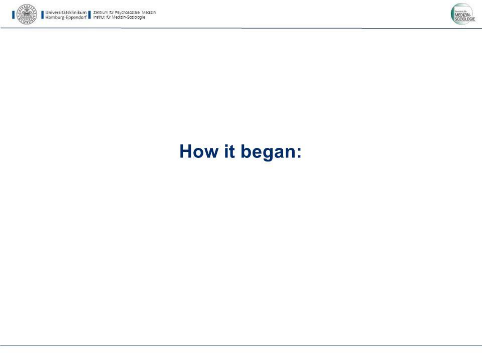 Zentrum für Psychosoziale Medizin Institut für Medizin-Soziologie How it began: