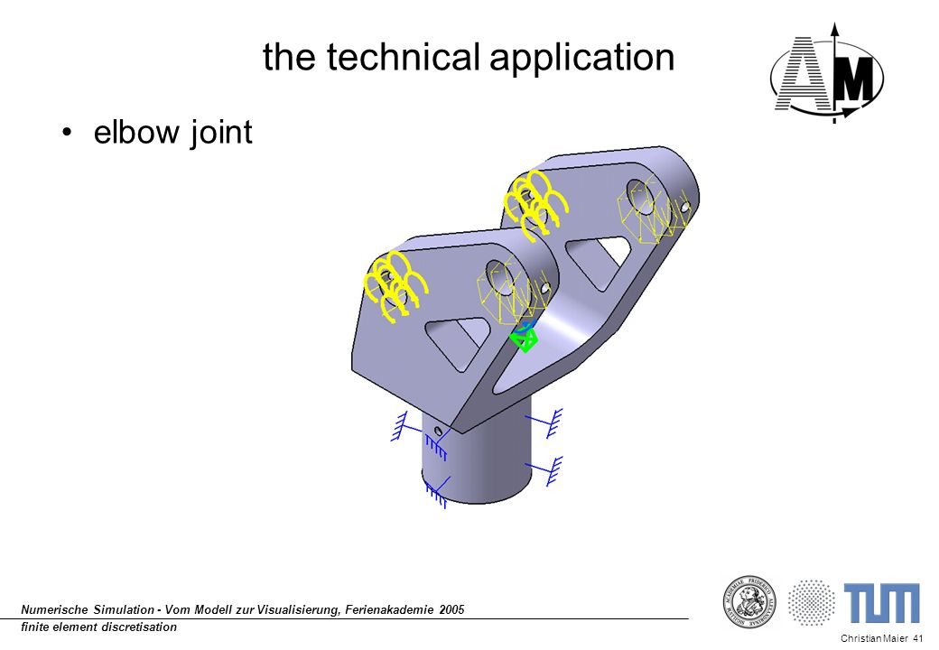 Christian Maier 41 Numerische Simulation - Vom Modell zur Visualisierung, Ferienakademie 2005 finite element discretisation the technical application