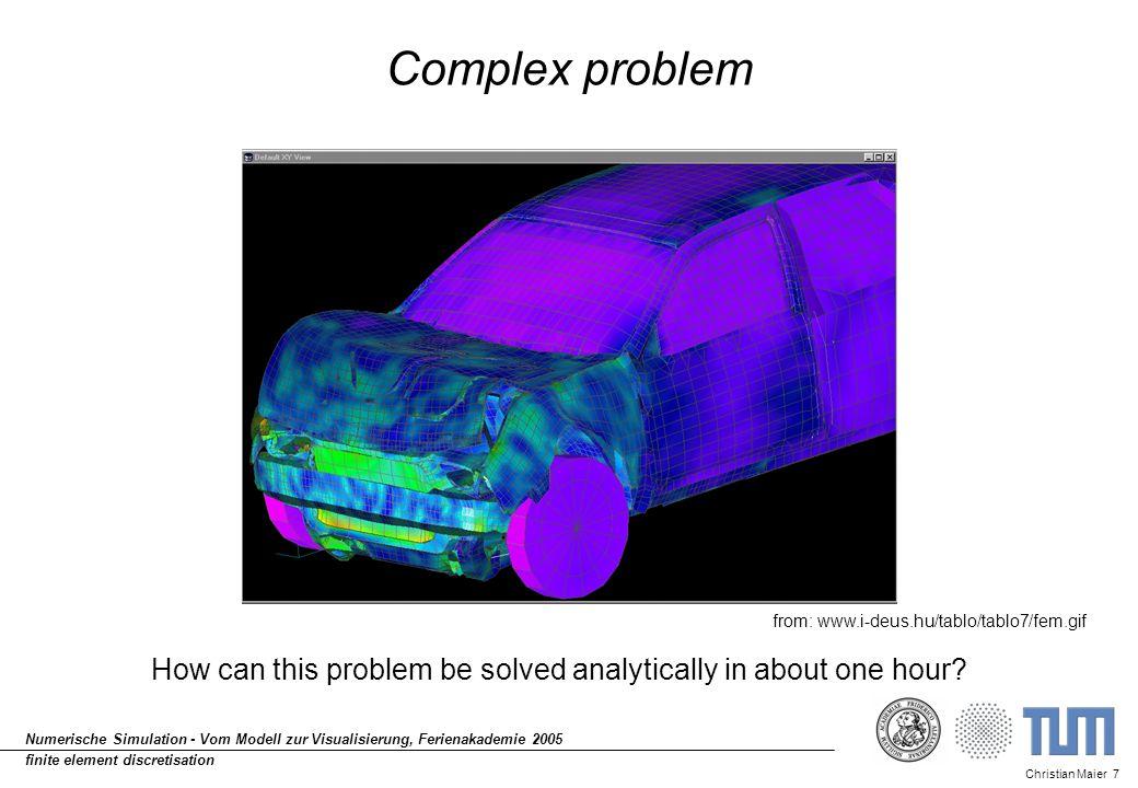 Christian Maier 7 Numerische Simulation - Vom Modell zur Visualisierung, Ferienakademie 2005 finite element discretisation Complex problem How can this problem be solved analytically in about one hour.