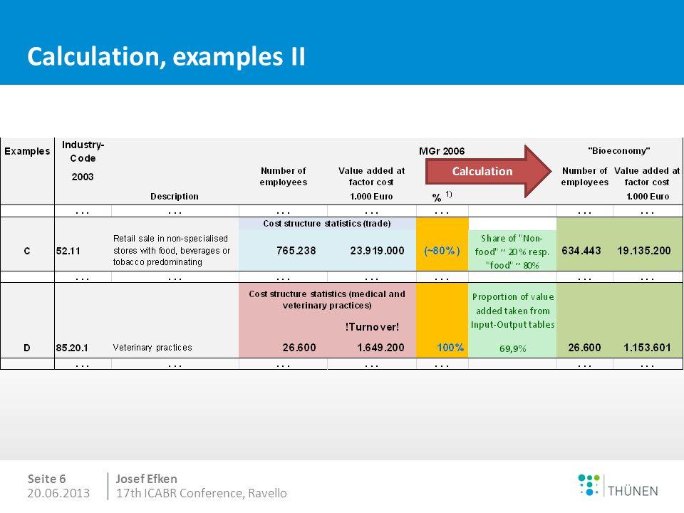 20.06.2013 Seite 5 Josef Efken 17th ICABR Conference, Ravello Calculation, examples I