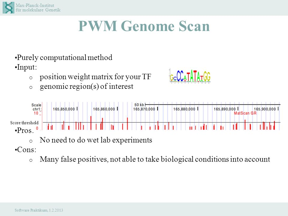 Max-Planck-Institut für molekulare Genetik Software Praktikum, 1.2.2013 PWM Genome Scan Purely computational method Input: o position weight matrix for your TF o genomic region(s) of interest Pros: o No need to do wet lab experiments Cons: o Many false positives, not able to take biological conditions into account Score threshold