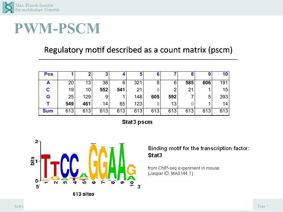 Max-Planck-Institut für molekulare Genetik Software Praktikum, 1.2.2013 PWM-PSCM Folie 7