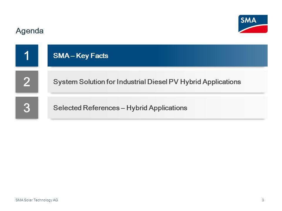 SMA Solar Technology AG Agenda 3 1 SMA – Key Facts 2 System Solution for Industrial Diesel PV Hybrid Applications 3 Selected References – Hybrid Appli