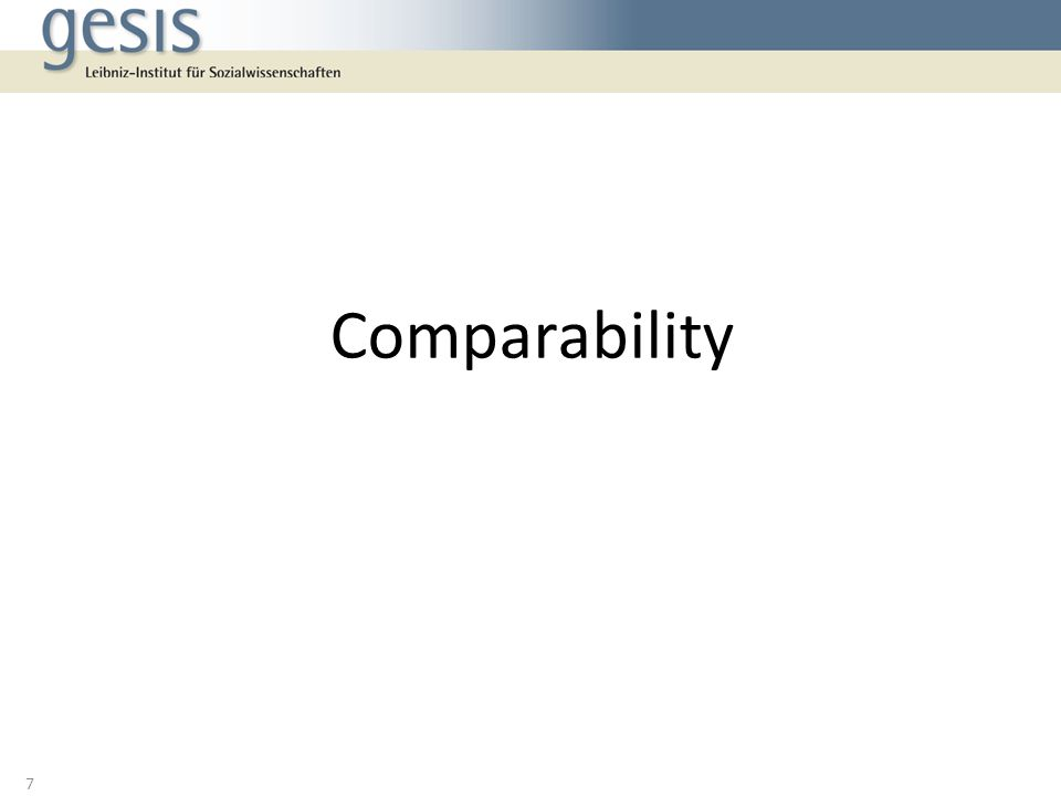 Comparability 7