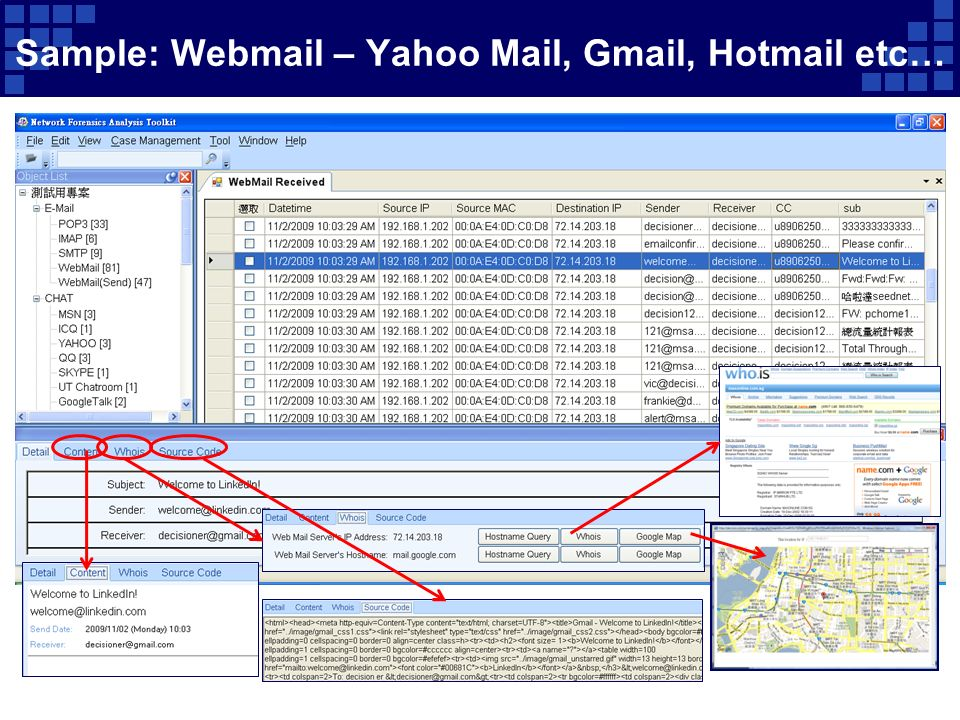 Sample: Webmail – Yahoo Mail, Gmail, Hotmail etc…