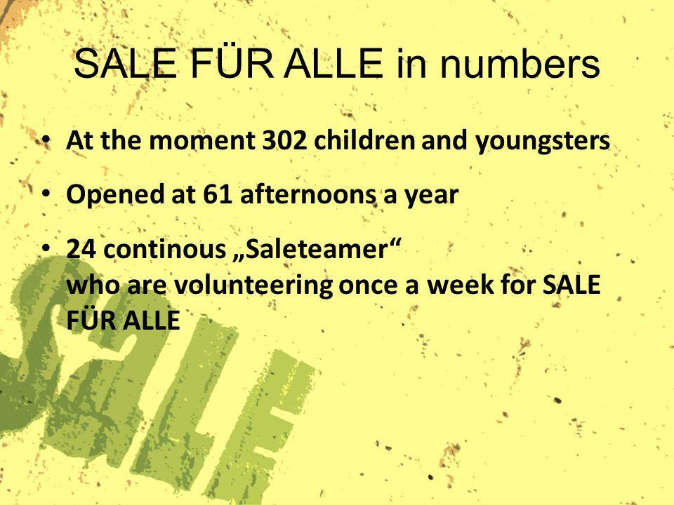 SALE FÜR ALLE in numbers At the moment 302 children and youngsters Opened at 61 afternoons a year 24 continous Saleteamer who are volunteering once a week for SALE FÜR ALLE