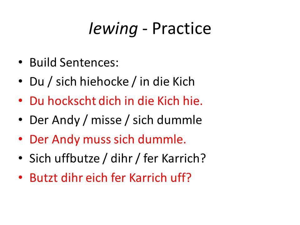 Iewing - Practice Build Sentences: Du / sich hiehocke / in die Kich Du hockscht dich in die Kich hie. Der Andy / misse / sich dummle Der Andy muss sic
