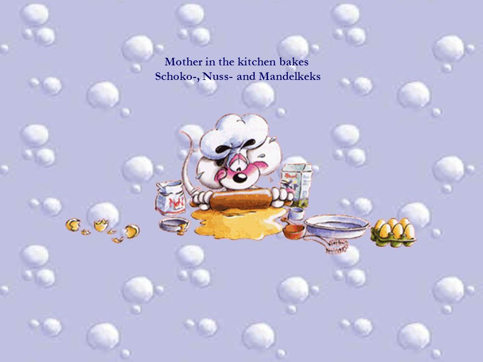 Mother in the kitchen bakes Schoko-, Nuss- and Mandelkeks