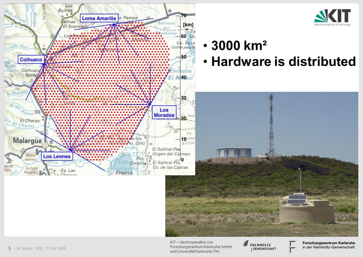 KIT – die Kooperation von Forschungszentrum Karlsruhe GmbH und Universität Karlsruhe (TH) 5 | M. Sutter | IPE | 11.04.2008 3000 km² Hardware is distri