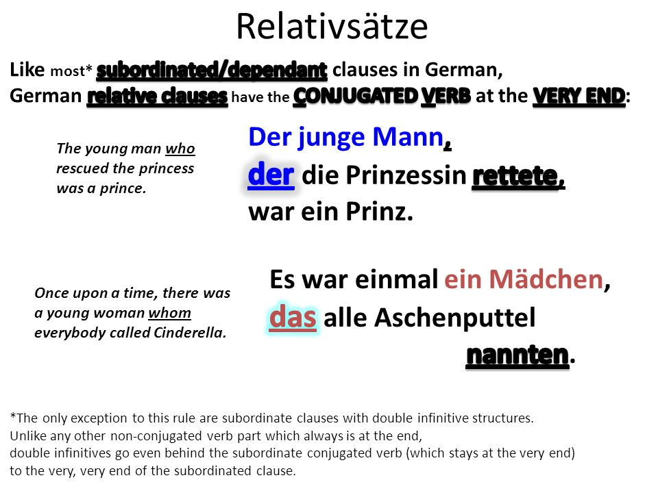 Relativsätze The young man who rescued the princess was a prince.