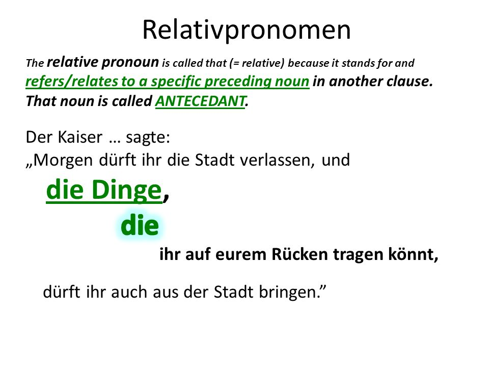 Relativpronomen The relative pronoun is called that (= relative) because it stands for and refers/relates to a specific preceding noun in another clause.