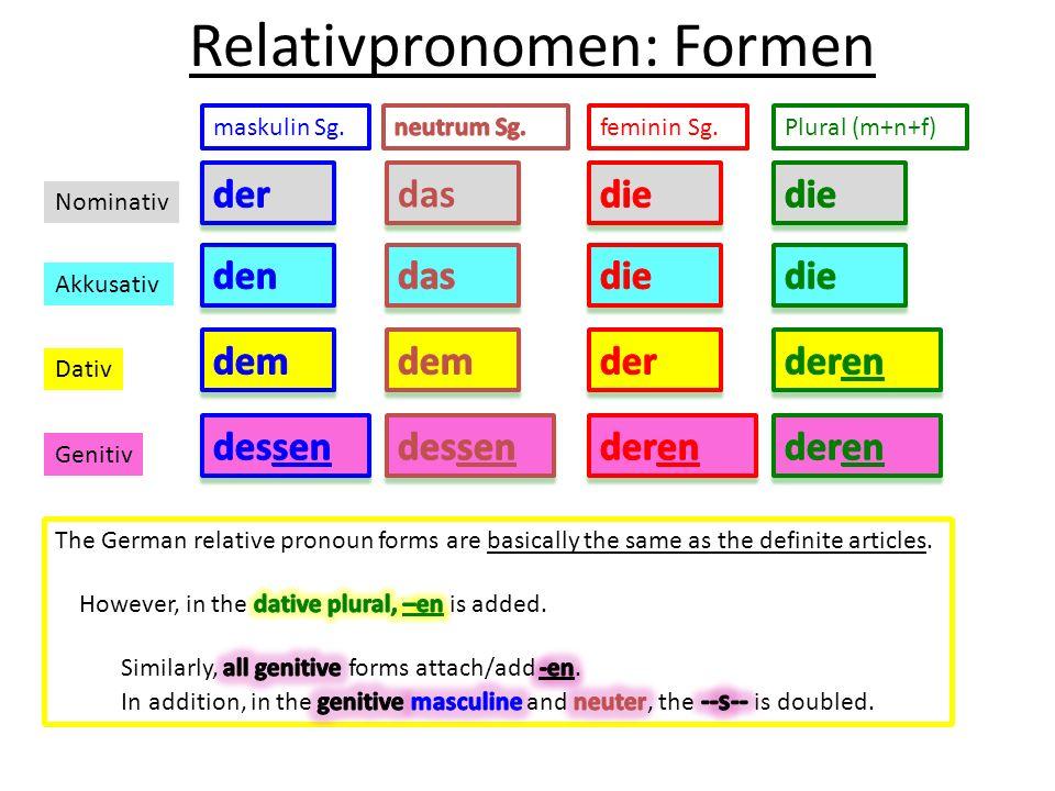 Relativpronomen: Formen maskulin Sg.