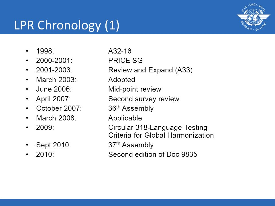 17 LPR Chronology (1) 1998: A32-16 2000-2001:PRICE SG 2001-2003:Review and Expand (A33) March 2003:Adopted June 2006:Mid-point review April 2007:Secon