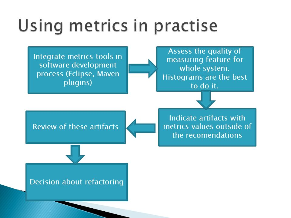 Integrate metrics tools in software development process (Eclipse, Maven plugins) Assess the quality of measuring feature for whole system.