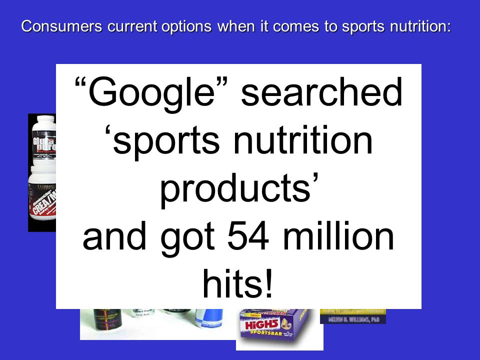 Consumers current options when it comes to sports nutrition: Google searched sports nutrition products and got 54 million hits!