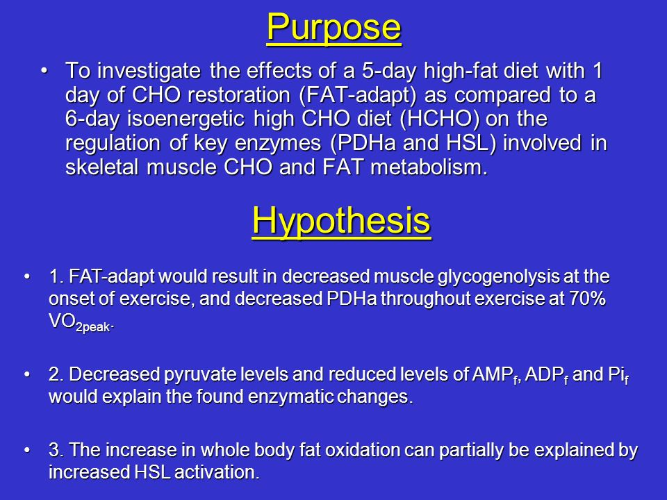 Purpose To investigate the effects of a 5-day high-fat diet with 1 day of CHO restoration (FAT-adapt) as compared to a 6-day isoenergetic high CHO die