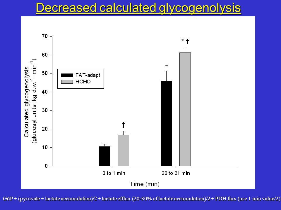 G6P + (pyruvate + lactate accumulation)/2 + lactate efflux (20-30% of lactate accumulation)/2 + PDH flux (use 1 min value/2) Decreased calculated glyc