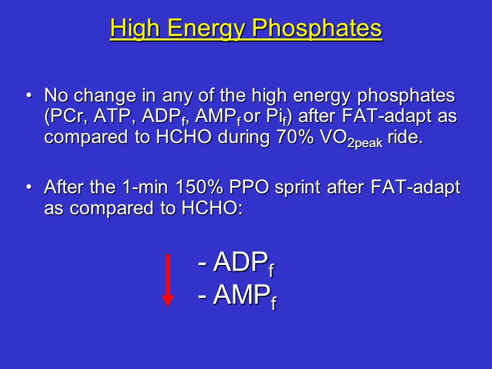 High Energy Phosphates No change in any of the high energy phosphates (PCr, ATP, ADP f, AMP f or Pi f ) after FAT-adapt as compared to HCHO during 70%