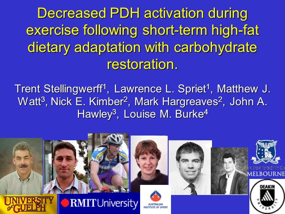 Decreased PDH activation during exercise following short-term high-fat dietary adaptation with carbohydrate restoration. Trent Stellingwerff 1, Lawren