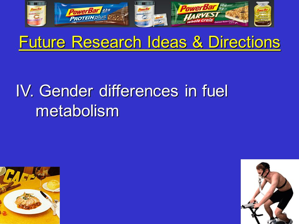 Future Research Ideas & Directions IV. Gender differences in fuel metabolism
