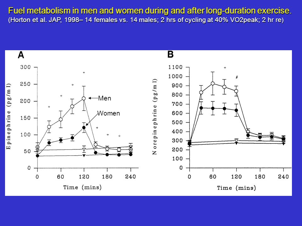 Fuel metabolism in men and women during and after long-duration exercise. (Horton et al. JAP, 1998– 14 females vs. 14 males; 2 hrs of cycling at 40% V