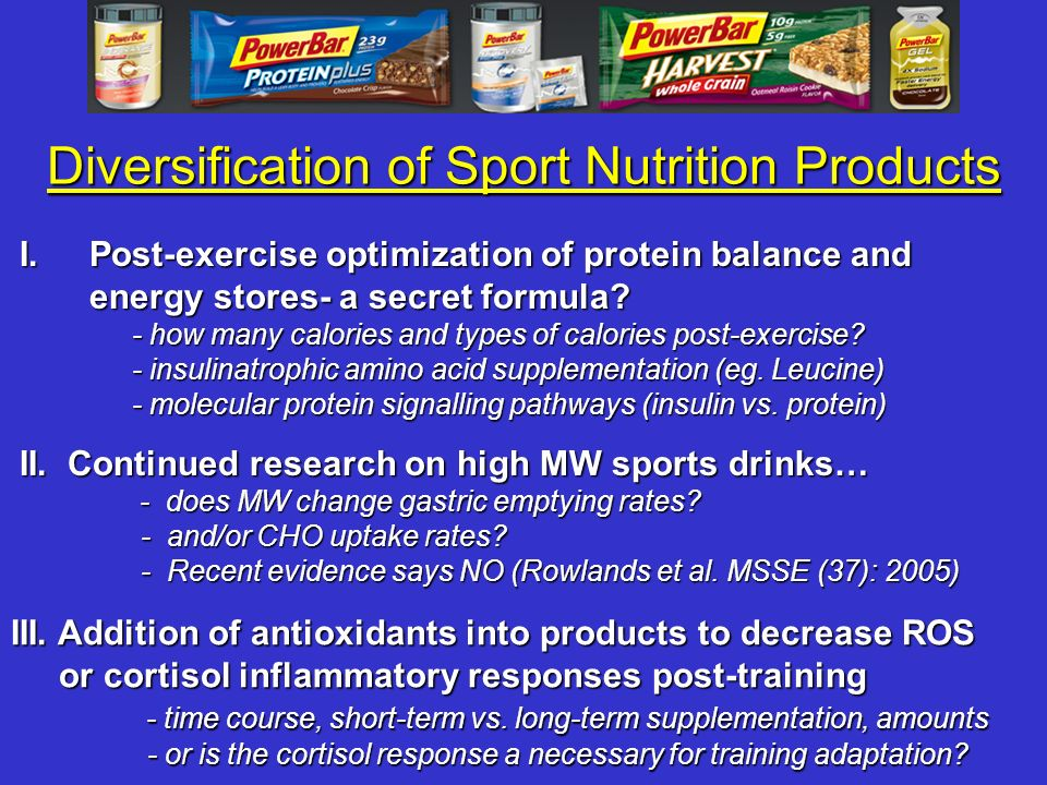 Diversification of Sport Nutrition Products II. Continued research on high MW sports drinks… - does MW change gastric emptying rates? - does MW change