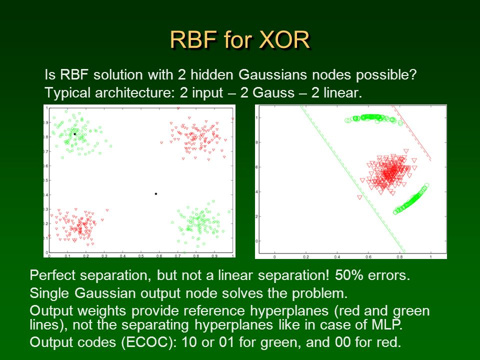 RBF for XOR Is RBF solution with 2 hidden Gaussians nodes possible? Typical architecture: 2 input – 2 Gauss – 2 linear. Perfect separation, but not a