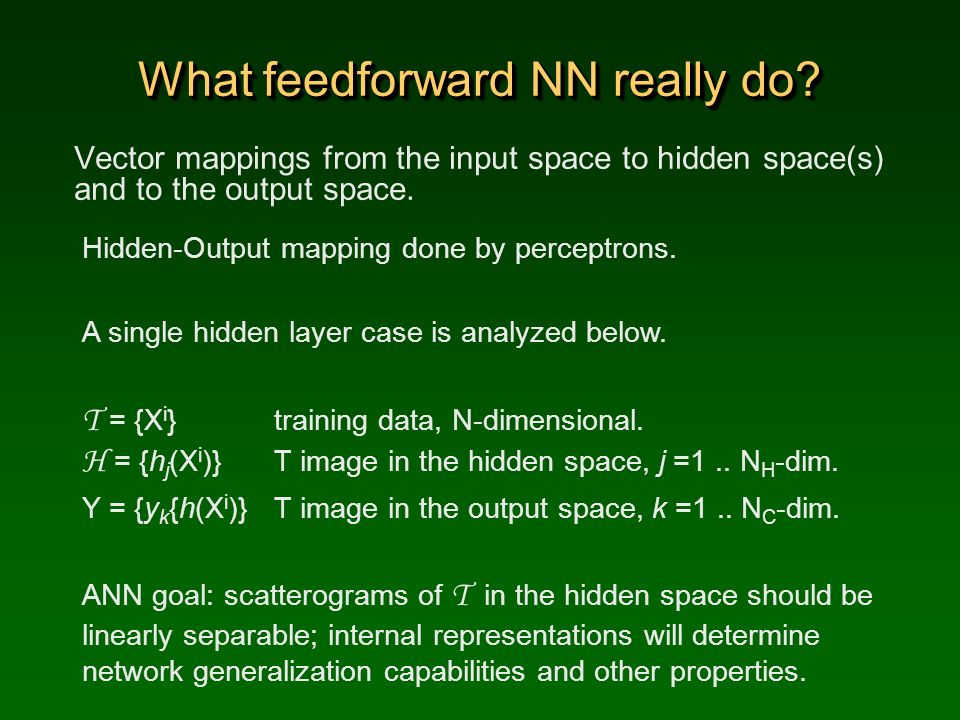 What feedforward NN really do? Vector mappings from the input space to hidden space(s) and to the output space. Hidden-Output mapping done by perceptr