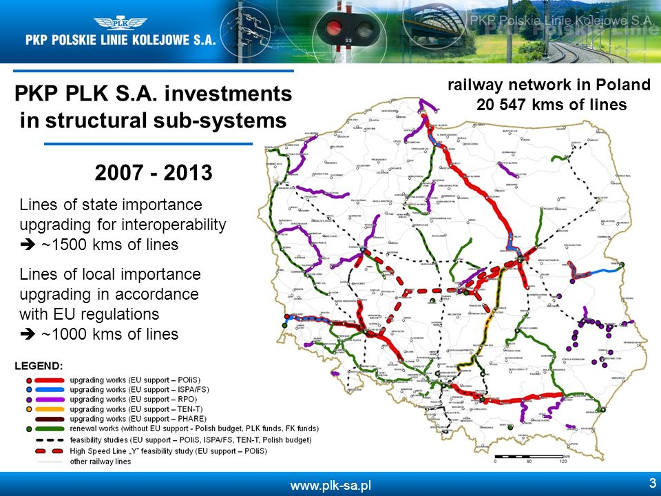 www.plk-sa.pl 3 Lines of state importance upgrading for interoperability ~1500 kms of lines PKP PLK S.A.