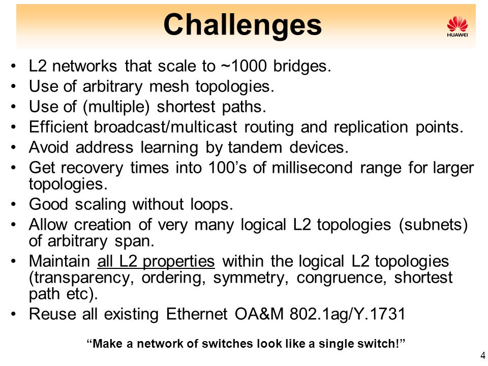 4 Challenges L2 networks that scale to ~1000 bridges. Use of arbitrary mesh topologies. Use of (multiple) shortest paths. Efficient broadcast/multicas