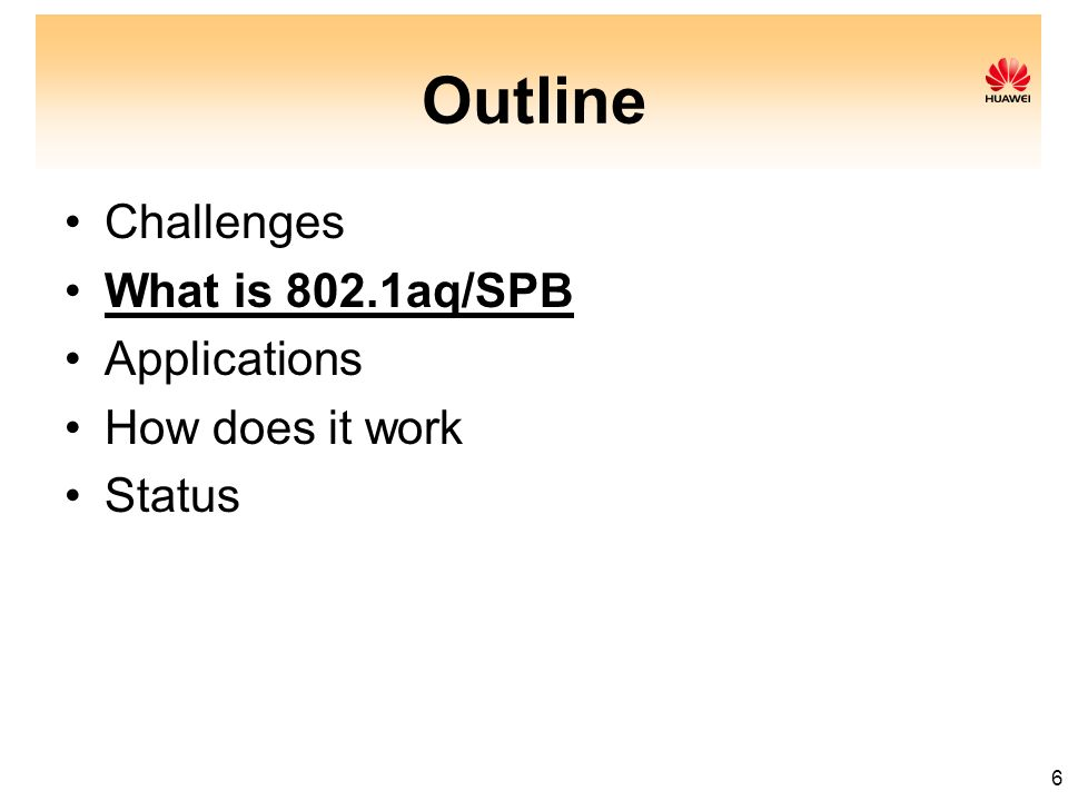 6 Outline Challenges What is 802.1aq/SPB Applications How does it work Status