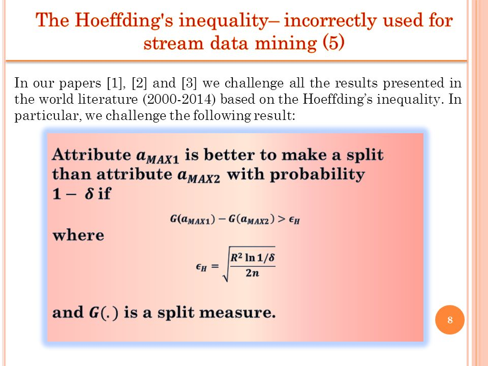 8 In our papers [1], [2] and [3] we challenge all the results presented in the world literature (2000-2014) based on the Hoeffdings inequality. In par