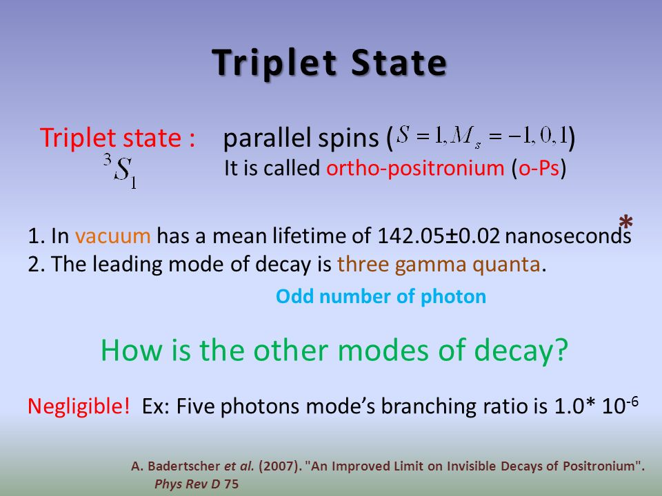 Triplet State Triplet state : parallel spins ( ) How is the other modes of decay.