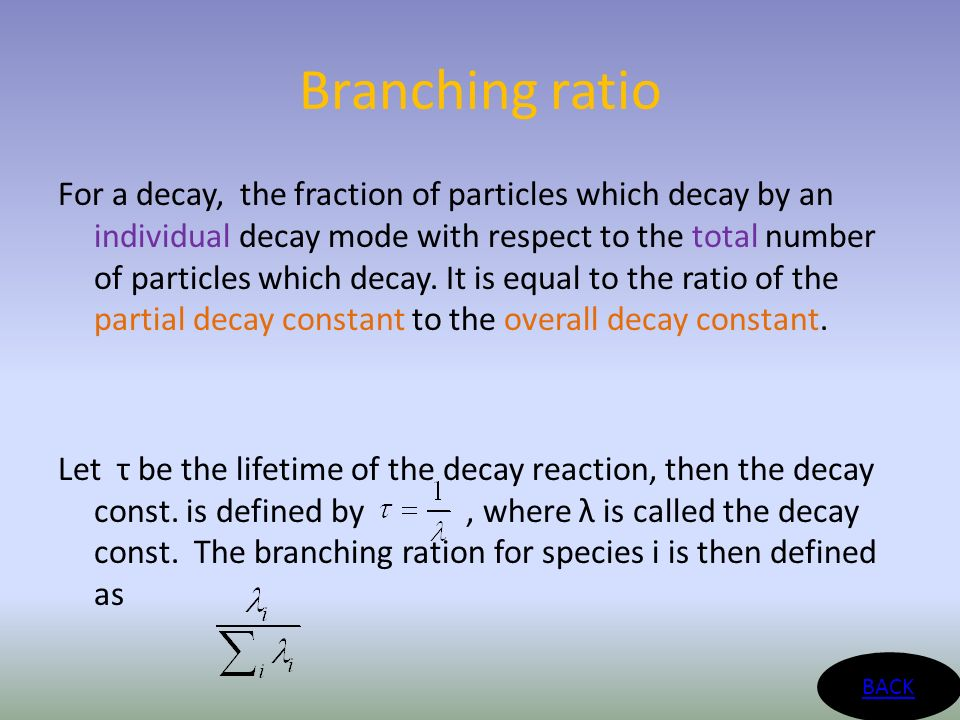 Branching ratio For a decay, the fraction of particles which decay by an individual decay mode with respect to the total number of particles which decay.