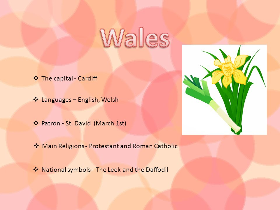 The capital - Cardiff Languages – English, Welsh Patron - St. David (March 1st) Main Religions - Protestant and Roman Catholic National symbols - The